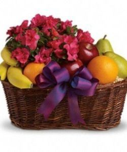 fruits and azaleas in beautiful picnic basket - gift basket